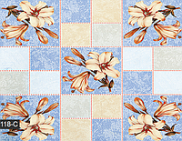 Голубая клеенка с цветами на обеденный стол