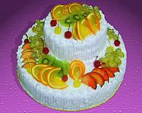 Торт фруктовый , двухъярусный . На заказ