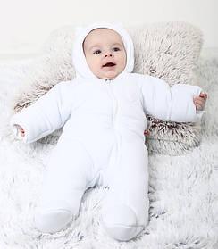 """Детский демисезонный комбинезон для новорожденных """"ВВ"""" белый"""