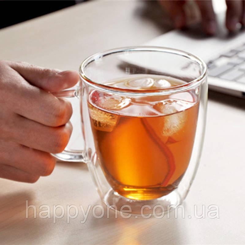Стеклянная чашка с двойными стенками (350 мл)