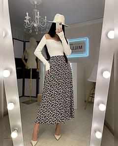 Женская длинная юбка с принтом из шелка Агния 42-44 р