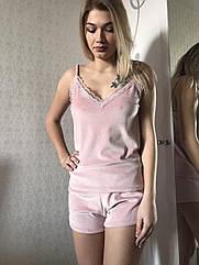 Піжама жіноча майка+шорти у рожевому кольорі, м'яка м'який плюш. S. M. L. XL
