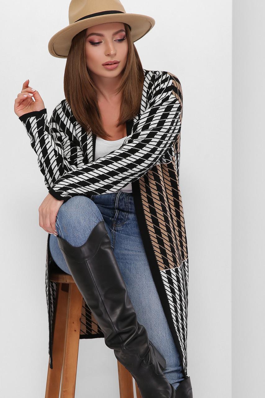 Женский вязаный стильный черный кардиган без застежки удлиненный 44-50