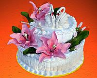 "Торт свадебный на заказ ""Лебеди и лилии"""