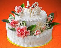 """Торт свадебный на заказ """"Лебеди и розы"""""""