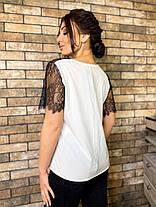 Блуза мереживо стильна біла 04р1573, фото 3