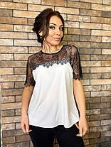 Блуза мереживо стильна біла 04р1573, фото 2