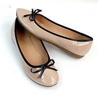 Женские балетки, лодочки туфли , туфли, на плоской подошве от производителя  бежевого цвета