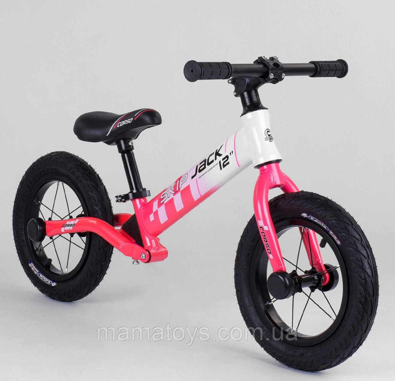"""Велобег 12 """"Corso Skip Jack 25025 Рожевий, Надувні колеса, Алюмніевая рама, Амортизатор"""