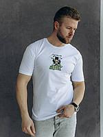 Молодежная мужская футболка с рисунком белого цвета из хлопка S, M, L, XL, 2XL