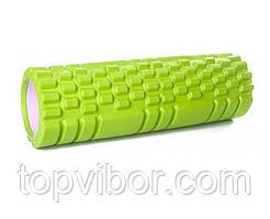 Масажний ролик для спини салатовий 30х10 см, спортивний валик для розминки м'язів, ролик для масажу