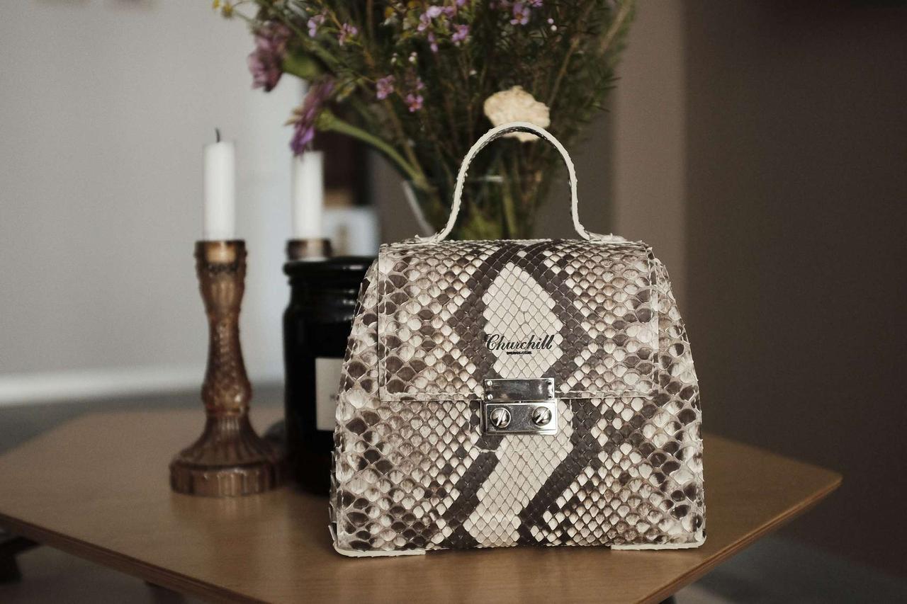 """Маленька жіноча сумка з натуральної шкіри пітона """"Sunset Exotic"""""""
