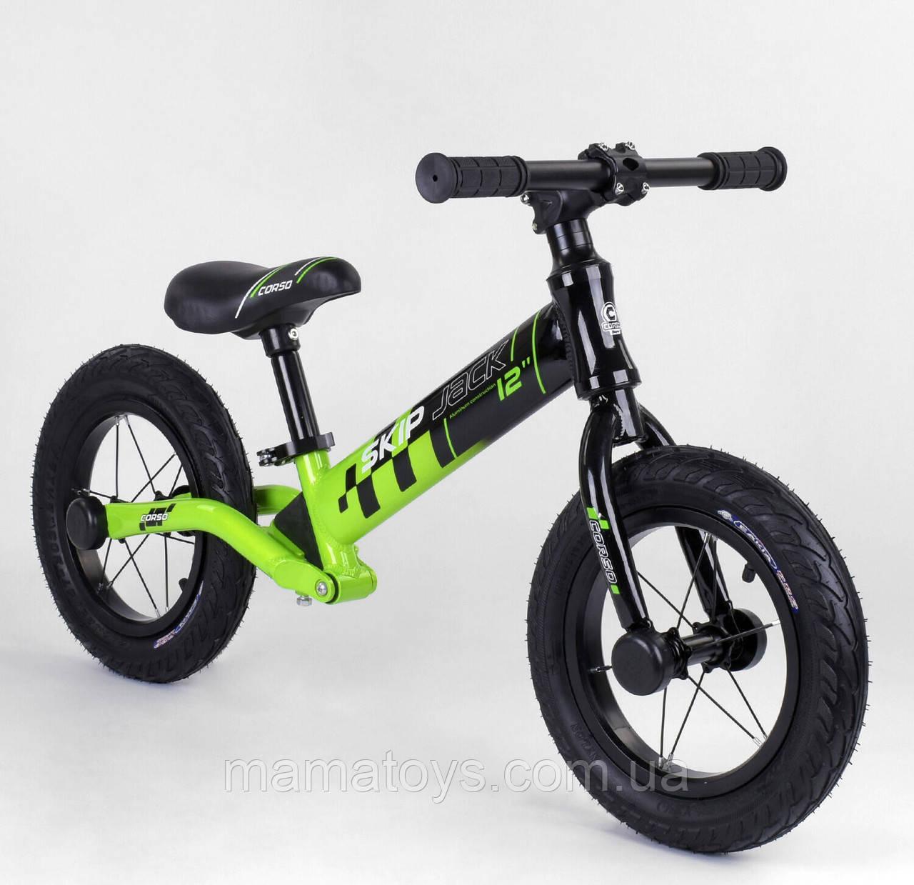 "Велобег 12 ""Corso Skip Jack 95112 Зелений, Надувні колеса, Алюмніевая рама, Амортизатор"