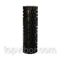 Спортивний валик для спини чорний 30х10 см, масажний ролик для розминки м'язів спини, валик для спини