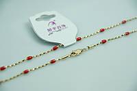 Элитная позолоченная цепочка с красными бусинами. Модные цепочки Xuping для женщин оптом и в розницу. 17