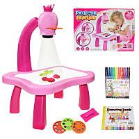 Детский столик для рисования с проектором и слайдерами многоразовая платформа для рисунков розовый