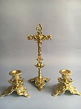 Крест крестьянский с двумя подсвечниками из бронзы