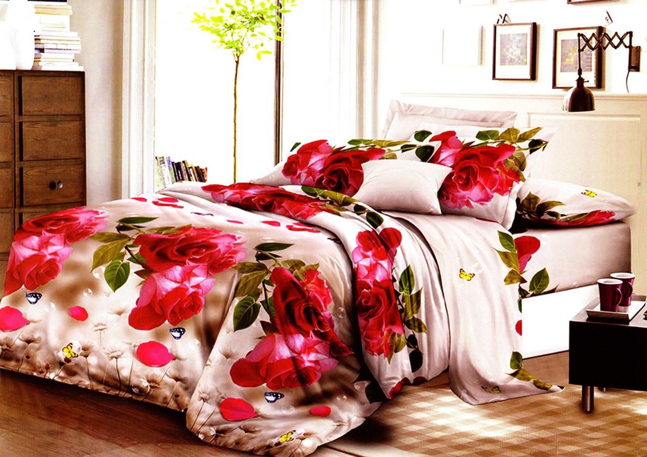 Якісне бязева постільна білизна комплект з трояндами Сімейка