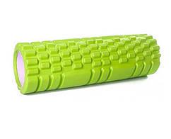 Массажный ролик для спины салатовый 30х10 см, спортивный валик для разминки мышц, ролик для массажа (ST)