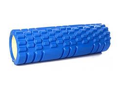 Ролик массажный для спины и йоги синий 30х10 см, спортивный валик для спины, ролик для спины (ST)