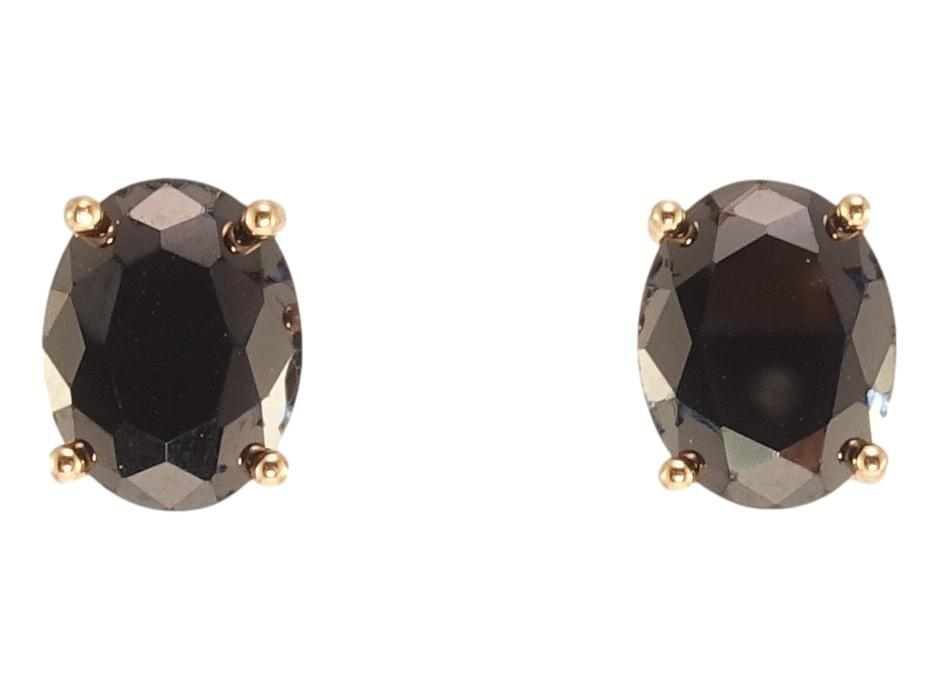 """Сережки XP Позолота 18К гвоздики (пусети) """"Чорні кристали"""" 7х9мм"""