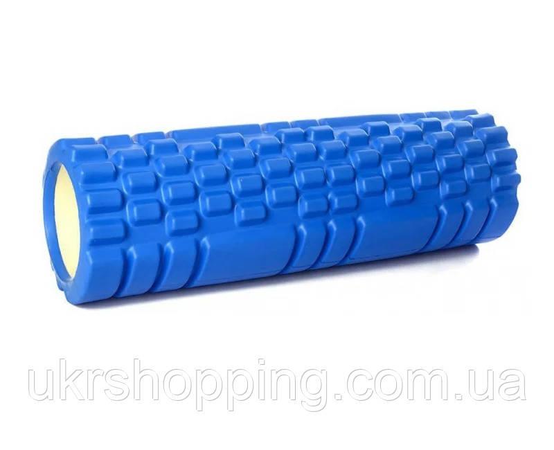 Ролик массажный для спины и йоги синий 30х10 см, спортивный валик для спины, ролик для спины (SH)