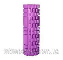 Массажный валик для спины фиолетовый 30х10 см, пенный массажный ролл, ролик для разминки мышц спины (TI)