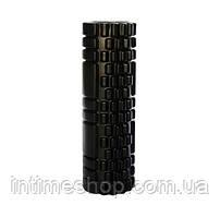Спортивный валик для спины черный 30х10 см, массажный ролик для разминки мышц спины, валик для спини (TI)