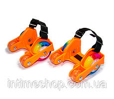 """Ролики на пятку четырехколесные """"Flashing roller"""" (hot Orange) пяточные на обувь (на кроссовки) (TI)"""