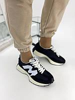 Кроссовки женские замшевые черные с нейлоновыми вставками, фото 1