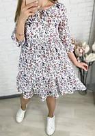 Платье женское с длинным рукавом в цветочек норма и батал новинка 2021, фото 1