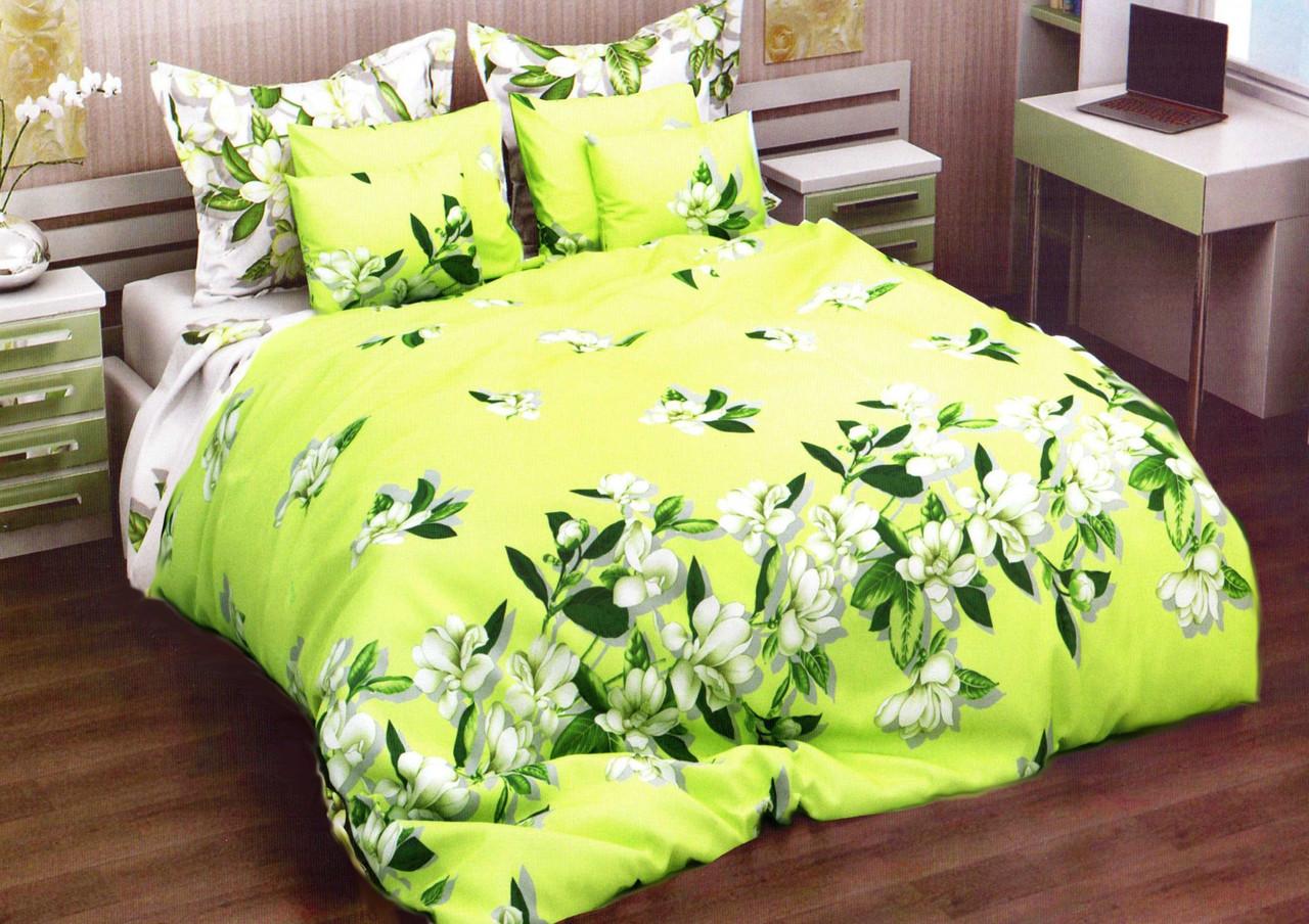 Домашнее натуральное салатовое постельное белье бязевое с цветочным принтом Двойной размер 180х220+2 наволочки
