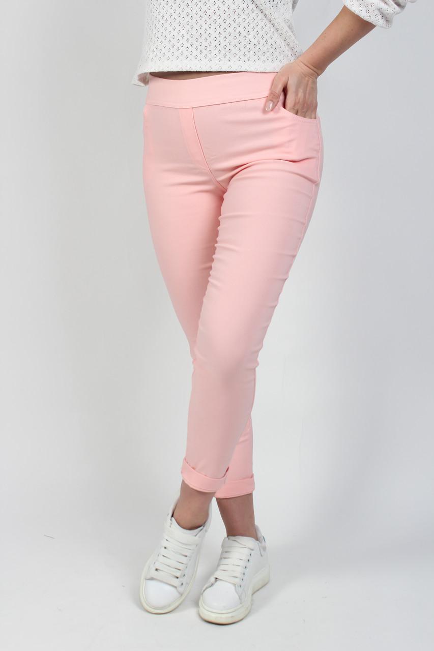 Лосины джеггинсы женские с завышенной талией и карманами из бенгалина розового цвета