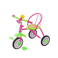 Велосипед триколісний для дітей з захисними накладками Trike T-316 з металевою рамою рожевого кольору.
