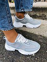 Кроссовки дышащие кожаные серые на белой подошве, 36, 37, 38 размеры, фото 1