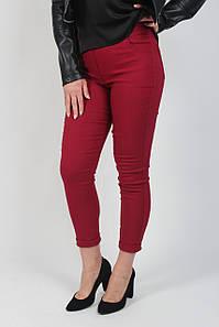 Лосины джеггинсы женские с завышенной талией и карманами из бенгалина бордового цвета