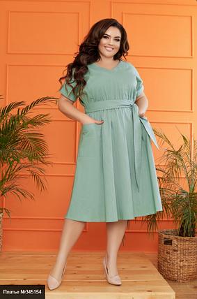 Летнее платье из льна большого размера Украина Минова Украина Размеры: 48-50, 52-54, 56-58, фото 2
