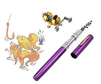 Карманная мини удочка Fishing Rod в форме ручки, фиолетовая