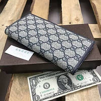 Женский кошелек Gucci Гуччи Большой серый кожаный портмоне Качественный брендовый клатч для купюр и мелочи