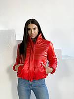 Жіноча червона куртка з еко-шкіри демісезонна