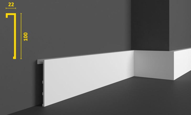 Накладной плинтус напольный из дюрополимера 100 мм, 2,0м