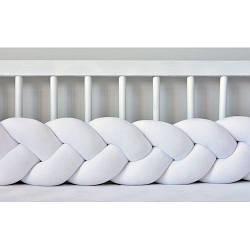 Бортик в кроватку Хатка Косичка Белый 120 см (одна сторона кроватки)
