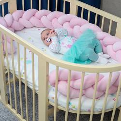 Бортик в кроватку Хатка Косичка Нежно-розовый 120 см (одна сторона кроватки)