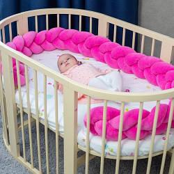 Бортик в кроватку Хатка Косичка Розовый 120 см (одна сторона кроватки)