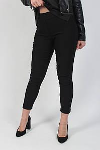 Лосины джеггинсы женские с завышенной талией и карманами из бенгалина черного цвета