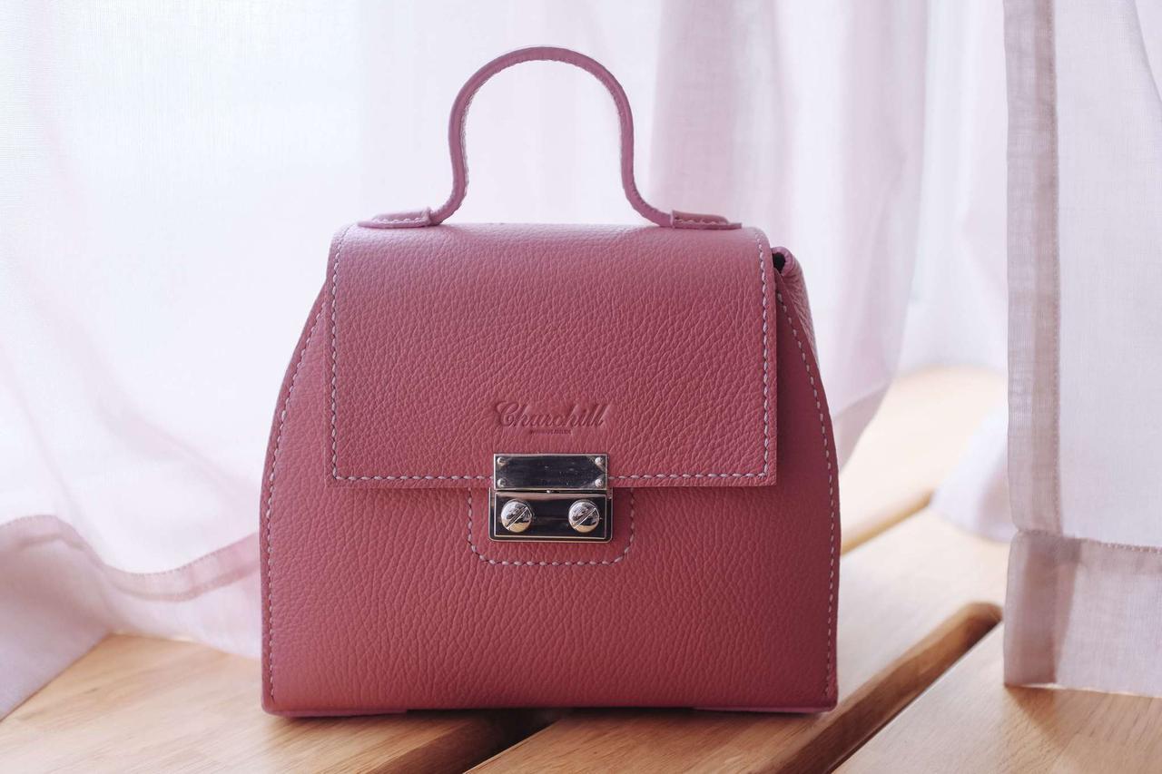 """Маленькая женская сумочка из натуральной кожи """"Sunset pink grain"""""""