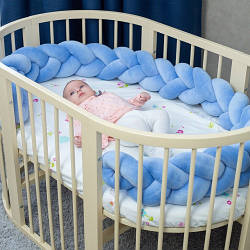 Бортик в кроватку Хатка Косичка Синий 120 см (одна сторона кроватки)