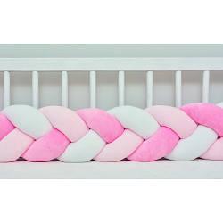 Бортик в кроватку Хатка Косичка Розовый-Персиковый-Белый 120 см (одна сторона кроватки)