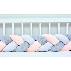 Бортик в кроватку Хатка Косичка Белый-Персиковый-Серый 120 см (одна сторона кроватки)