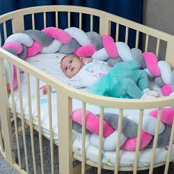 Бортик в кроватку Хатка Косичка Белый-Серый-Розовый 120 см (одна сторона кроватки)